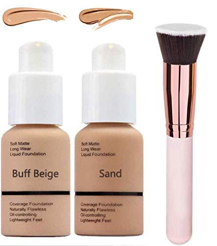 2 Unids Fundación Maquillaje Cobertura Completa Mate Control de Aceite Corrector Fundación Crema Larga Duración Impermeable Mate Base Líquida