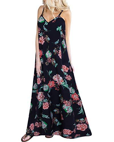 Kidsform Damen Sommerkleider Blumen Maxi Kleid Ärmellos Abendkleid Strandkleid Party Chiffon Lange Kleid Dunkelblau EU 44/Etikettgröße XL