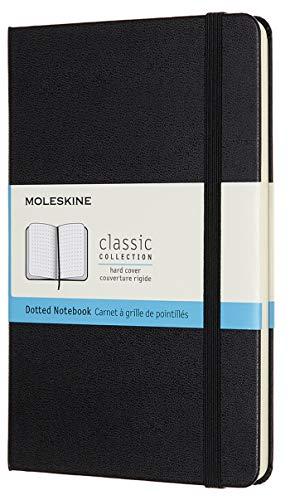 Moleskine Classic Notebook, Taccuino con Pagine Puntinate, Copertina Rigida e Chiusura ad Elastico, Formato Medium 11,5 x 18 cm, Colore Nero, 208 Pagine