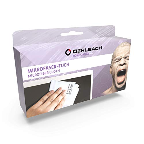Oehlbach HDCC-40 Reinigungstuch - Hochwertiges Mikrofaser Tuch, extra groß 40x40 cm, 300 GSM (perfekte Reinigung von Brille, Kamera, Fernseher, Display, Handys) - weiß