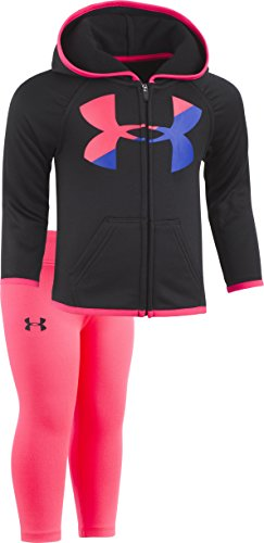 Under Armour Baby Girls\' Big Logo Hoody Set, Black, 3/6M