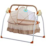 Baby Bassinets Lightweight Baby Cribs with Electric Automatic Swing Portable Swing with Music Baby Rocking Chair 3-Speed Adjustable Safe Soothing Swing for Infants 0-18 Months (Brown)