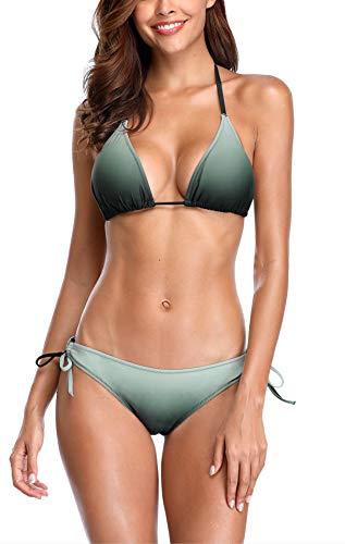 V FOR CITY Bikini Set Damen Triangel Push Up Badeanzug Zweiteilige Bademode Neckholder ohne bügel Bikinihose M