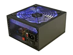 530 watts total output A huge 135mm blue LED fan Power Material: Stained Black SECC Steel Komodo smart modular cabling system 6 x ATX 4 pin molex connectors; 4 x SATA connectors; 2 x 4 pin floppy connectors Hexflo honey comb cutouts for maximum airfl...