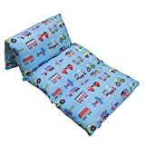Wildkin Kids Pillow Lounger for Boys and Girls, Travel-Friendly and Perfect for Sleepovers,Requires 4 Standard Size Pillows (Not Included),Measures 69.5 x 27 Inches,BPA-free(Trains, Planes and Trucks)