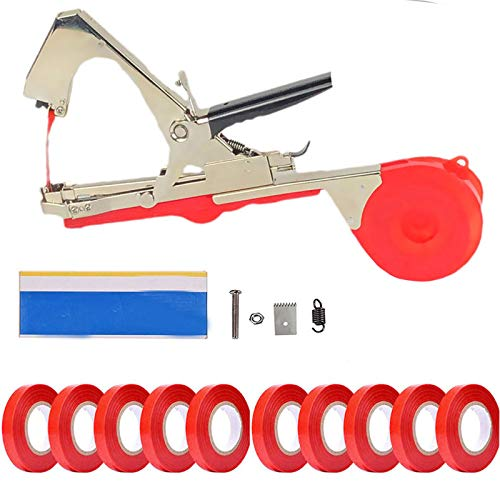 CXZ Plant Vine Tying Machine Tapener Tool, (Red) Garden Plant Tape Tool, with 10...
