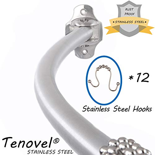 """TENOVEL 2-Piece Bathroom Shower Sets: Stainless Steel 50""""-72"""" Adjustable Curved Shower Rod, Double Glide Shower Curtain Hooks/Rings-Brushed Nickel"""