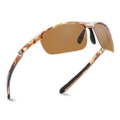 JOJEN Polarized Sports Sunglasses for men women Baseball Running Cycling Fishing Golf Tr90 ultralight Frame JE001 (Tortoise Shell Frame Brown REVO Lens 02)