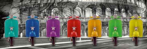 Vespa - Colosseum Roller Moped Slim Poster Plakat Druck - Grösse 91,5x30,5 cm