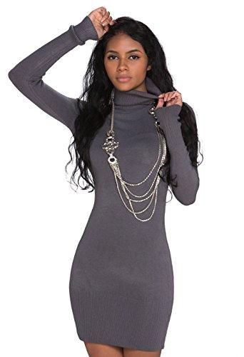Fashion4Young 927 Damen Strick Minikleid Longpullover Pullover Long Rollkragen in 6 Farben 2 Größen (S/M 34/36, Grau)