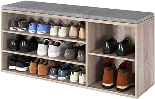 Blackzebra Banco Zapatero para 15 Zapatos Zapatero Madera para Pasillo Estante Ajustable Asiento Acolchado Zapatero con 3 Estantes 5 Compartimentos Roble 105x30x48cm
