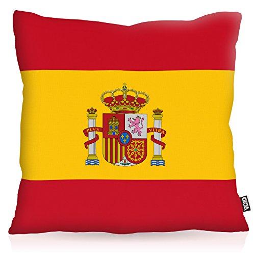 VOID Spanien Spain Polyester Kissenbezug Flagge Fahne Fan-Kissen Kissenhülle Outdoor Indoor Bunt, Kissen Größe:40 x 40 cm