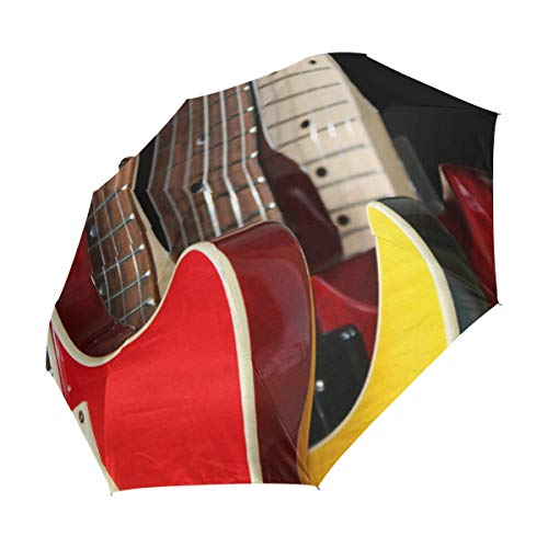 Ahomy Paraguas Plegable de Viaje para Guitarras eléctricas Retro, Cierre automático, Mango...
