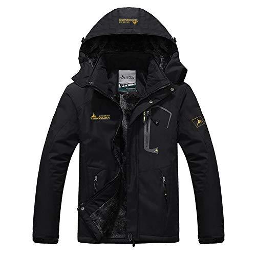 Hommes Manteau Épais Outwear Blouson Sport Escalade Alpinisme Ski Homme Hiver Chaud Sweats à Capuche Polaires Doublé Hoodie Veste Épaisse Sweat-Shirts Outwear Casual,XL,Noir Pur