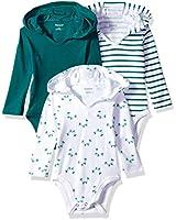 Hanes Ultimate Baby Flexy 3 Pack Hoodie Bodysuits, Greens, 0-6 Months