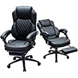 Kasorix Managerial and Executive Chair with Footrest,Home Office Chair with Black PU Leather,Melt Function Office Chair(Black-9106)