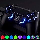 eXtremeRate LED Kit(DTF) Boutons D-Pad Joystick Touches pour Playstation 4 PS4 Manette(Tous Les Modèles) 7 Couleurs 9 Modes Boutons Classiques-A