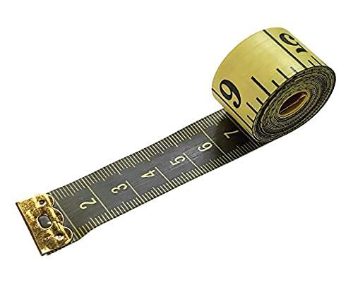 Cinta métrica Costura, Doble Cara para medir el cuerpo (la circunferencia del pecho/la cintura). Herramienta de costura, 150 cm. Color amarillo, y números, rayas y letras de color negro.