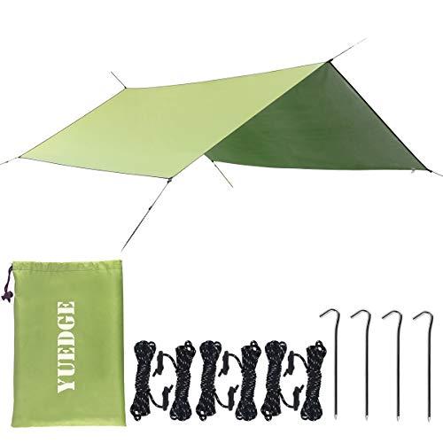 YUEDGE Easy Set Up Portable Waterproof Camping Tarp Shelter Sunshade Rain Tarp Tent Tarp Hammock Tarp Rain Fly(L Army Green)