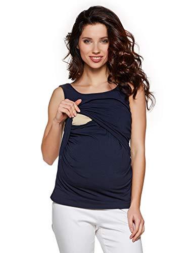 Be! Mama - T-shirt d'allaitement - Débardeur d'allaitement - Débardeur de grossesse - Modèle simple - Bleu - 42/44