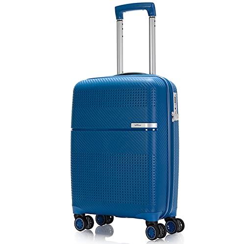 BONTOUR Maleta rígida con ruedas, 55 x 38 x 20 cm, con candado TSA, equipaje de mano, 4 ruedas, de material resistente y flexible