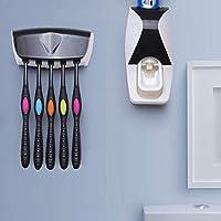 自動歯磨き粉ディスペンサー 歯ブラシホルダー付き 歯磨き粉ツール 歯ブラシホルダー 洗濯セット 自動的 壁掛け式 便利 収納 簡単装着 バスルーム 洗面台 多機能