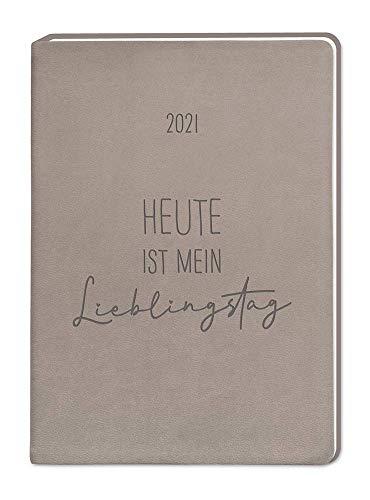 "Terminplaner Lederlook A6 ""Taupe"" 2021"