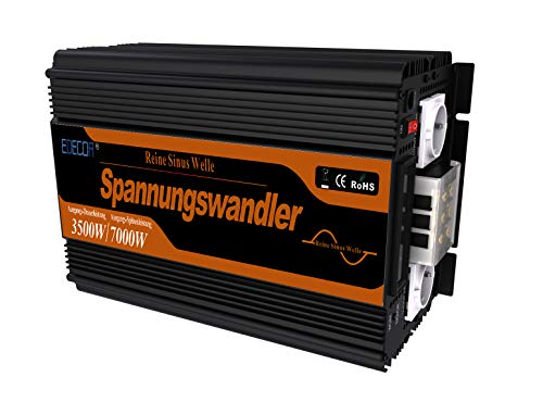 EDECOA inversor 12v 230v onda pura 3500w pantalla LCD inversor onda pura transformador con...