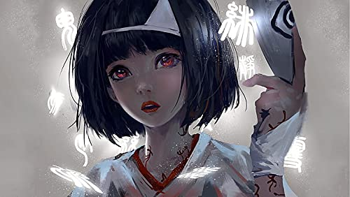 Póster Web Anime Black Hair Fantasy Girl Wlop 30,5 x 45,7 cm (Multicolor) W-4487