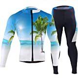 SLHFPX Mens Cycling Jersey Palm Tree On Beach Summer Bright Blue Ocean Sky Long Sleeve Outdoor Bike Shirt Pad Pants Set