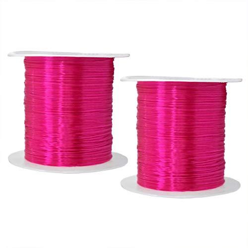 Embroiderymaterial Bordado de Hilo elástico para Manualidades y bisutería, 2 Rollos Hot Pink