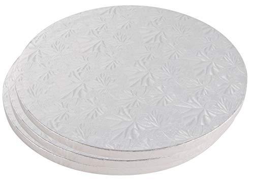 Juvale Tortenkarton, rund, 3-teiliges Set aus Silberfolie, Einweg-Trommel, Wellpappe, FDA-genehmigt, 30,5 cm Durchmesser