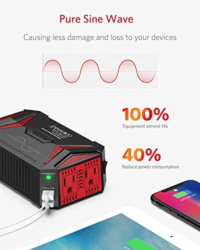 BESTEK 300Watt Pure Sine Wave Power Inverter Car Adapter DC 12V to AC 110V with 4.2A Dual Smart USB Ports