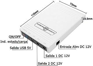 Mini UPS o Mini SAI con batería Interna de Gran Capacidad y Salidas 5V+12V. Válido para routers cámaras alarmas etc