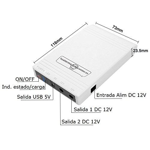 Mini UPS/ASI met grote capaciteit interne batterij en 5 V + 12 V uitgangen geschikt voor routers, camera's, alarminstallaties enz.