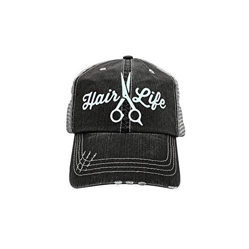 r2n fashions Hair Life Women's Hair Dresser Hair Stylist Trucker Hat Cap Black/Grey