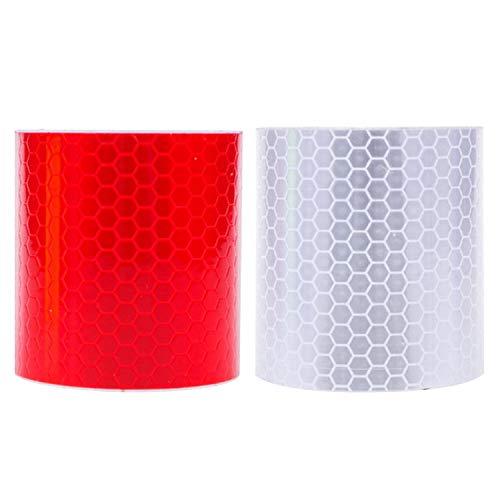 2 rouleaux 5x300cm réfléchissant réflecteurs autocollants bandes d'avertissement bandes autocollants pour camion moto voiture tricycles rouge + blanc