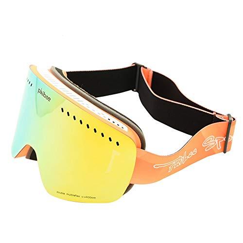 Ryyland-Outdoor Sport Skibrille Erwachsene groß sphärisch doppelschichtig Anti-Fog Skibrille Bergsteiger Spiegel Windschutz Motorrad Brille Motorradbrille Adult Cylinder Orange
