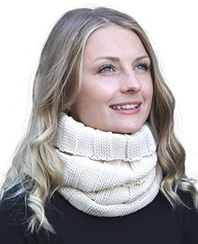 Arme su conjunto de combo de invierno: bufanda, gorro de punto a juego y guantes a juego, configuración conjunto:bufanda creme