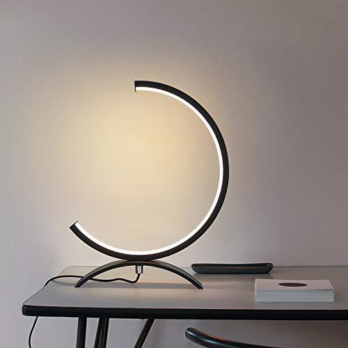 ZMH Lámpara de mesa LED regulable 7W lámpara de mesilla de aluminio negro, 32*20CM, lámpara...