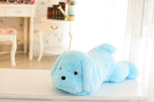 Kenmont LED Licht Kissen Schlafen Hund Gestalten Plüsch-Kissen Haustiere Welpe Peluche Plüschtiere Puppen für Kinder Geschenke Weihnachtsschmuck (Blau)