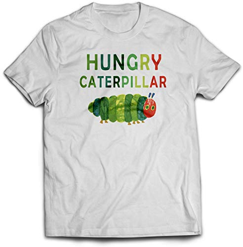 The Hungry Caterpillar T-Shirt - Costume Novelty World Book Day Tee Top Twin Needle Collar 100% Combed Ringspun Cotton High Stitch Density Extreme Comfort (White Prime, 3-4 Years)
