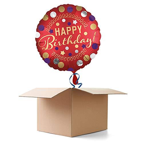 CREATIV DISCOUNT Ballongrüße / Geschenkballons / Ballonversand, Happy Birthday Satin rot, 1 Ballon
