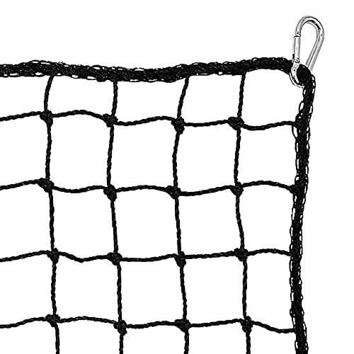 Heavy Duty Sports Netting Barrier Net. All Sport Ball Containment Net Lacrosse Football Baseball Softball Basketball Soccer Hockey. Hitting Throwing And Batting Practice. Includes 4 Carabiners (10x10)