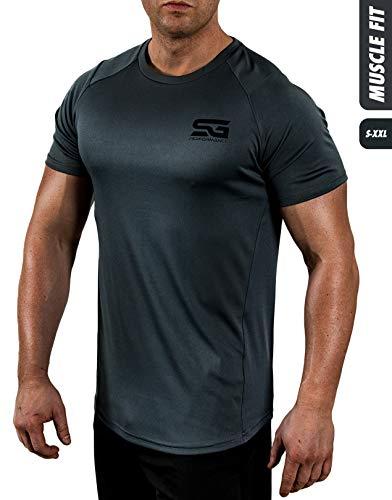 Satire Gym Fitness T-Shirt Herren - Funktionelle Sport Bekleidung - Geeignet Für Workout, Training - Slim Fit (XL, anthrazit)