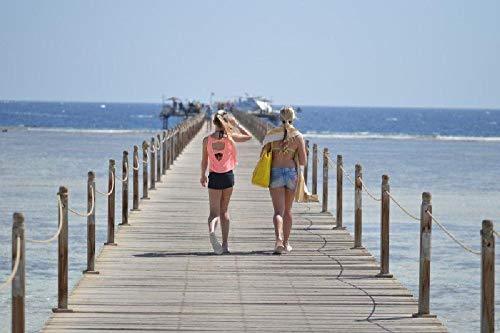 NOBRAND Mujer Caminando por el Sendero de Madera a lo Largo de la Costa - Pintura por números para Adultos o niños
