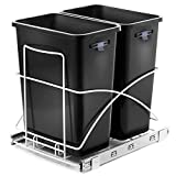 Home Zone Living 7.6 Gallon Kitchen Trash Can - Pull Out Under Cabinet Trash Bin, Dual Compartment Recycling Combo, 29 Liter