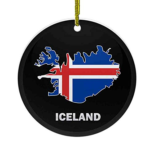 8 NBNWDHI Ceramic Ornaments - Flag Map of Iceland Ornament (Round) Round Holiday Christmas Ornament| Cute Santa Gift| Xmas Tree Decoration 2.8in