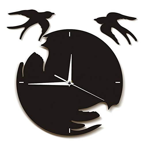 N/ A Reloj de Pared de Golondrinas pájarosVolando Arte de la Pared Arte de Aves voladoras decoración del hogar Natural Reloj de Pared Colgante Golondrinas Regalo