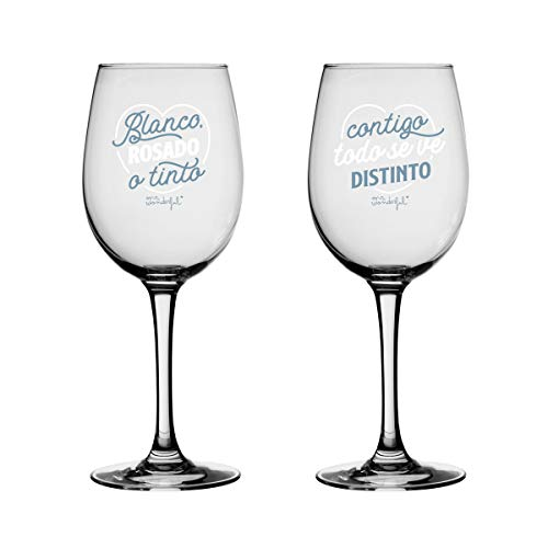 Mr. Wonderful Set de Dos Copas de Vino para Brindar por lo